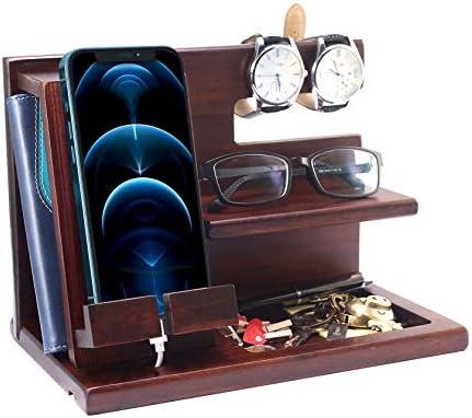 Foonii Wooden Phone Docking Station for Men Gift for Men Husband Dad Nightstand Organizer Desk product image