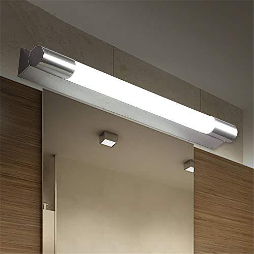 CaoDquan eenvoudige en moderne badkamerlamp van roestvrij staal met spiegel met LED-wc-spot, anti-condens-effect, badkamerspiegel met LED-verlichting boven de spiegel