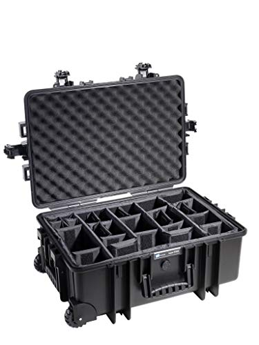 B&W Outdoor Case Hartschalenkoffer Typ 6700 mit Facheinteilung, anpassbar (Hardcase Koffer IP67, wasserdicht, Innenmaß 53,5x36x22,5cm, Schwarz)