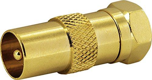 SCHWAIGER -GOUST9310 537- F-Stecker | Adapter | F-Stecker > F-Buchse | für Antennenkabel, Antennendose | 1 Stück | gold