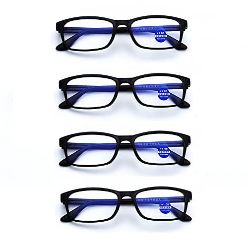 4-Pack Gafas de Lectura,Anti-Azul Gafas de Lectura,Unisex,HD Lentes,Materiales TR90,Gafas de Equipo,Adecuado para los Ancianos,De Lectura, 2.00