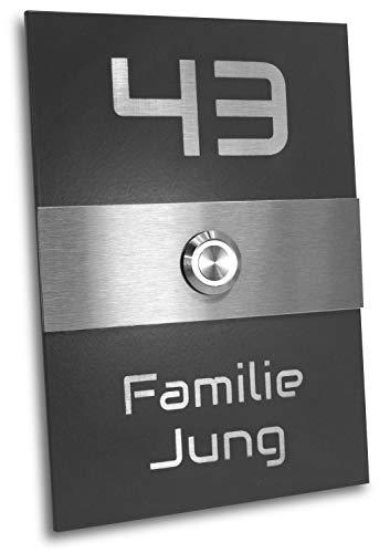 Jung Edelstahl Design Türklingel Philadelphia anthrazit RAL 7016 pulverbeschichtet Klingelschild mit LED und Gravur Haustürklingel Klingelplatte Klingel (weiß)