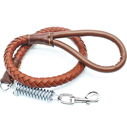 CSMZ Halsband en Lead for middelgrote hond glad leer Slijtvast Bite-resistente huisdier riemen, Pet Supplies (Color : Brown)