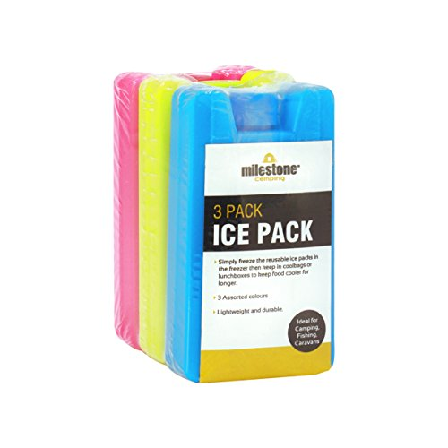 Milestone Camping 25160 Mini Ice Pack Cooler Blocks / Pack of 3 / Pink, Blue, Lime Green Colours / 100ml Capacity / 10.5cm x 5.5cm