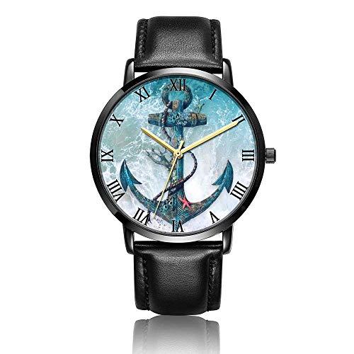 Relojes Anolog Negocio Cuarzo Cuero de PU Amable Relojes de Pulsera Wrist Watches Ancla y Cuerdas