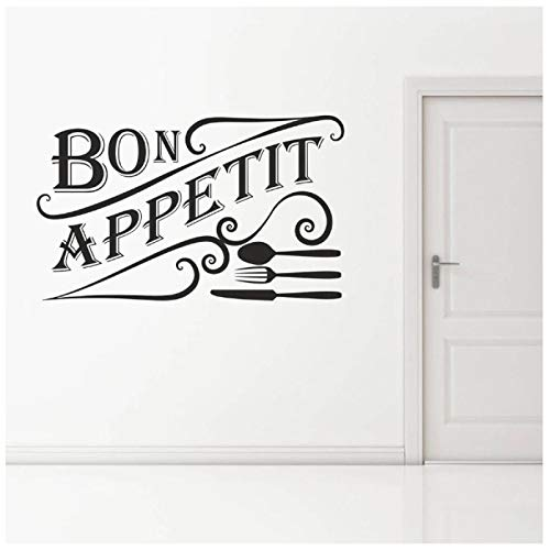 tinghua Palabras Francesas Vajilla Puerta Ventana Vinilo Pared Pegatina Restaurante Cocina Comedor Decoración Interior Mural 42 * 68Cm