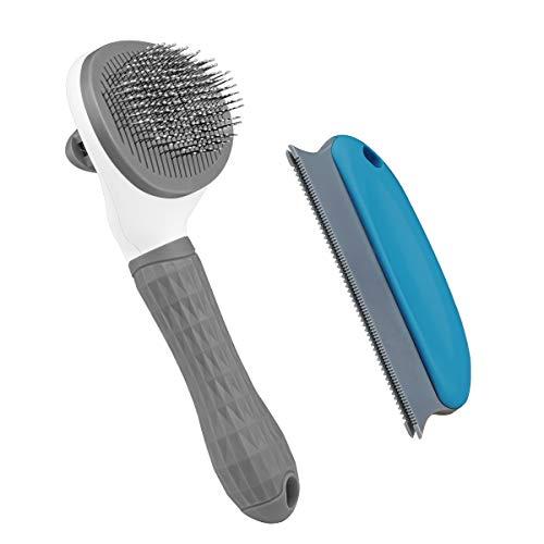 Aumuca Katzenbürste und Hundebürste mit langem oder kurzem Haar, selbstreinigende Zupfbürste für...