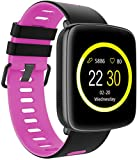 SmartWATCH Active Sports reloj Blueooth Watch con WhatsApp*, podómetro, pulsómetro para fitness (medidor de ritmo cardíaco), resistente al agua para Apple iPhone (iOS*) & Android, Technikware rosa/negro