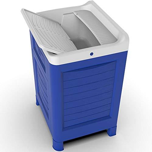 Bama - Mueble de lavabo de resina, 60 x 51 x 89 cm, color azul