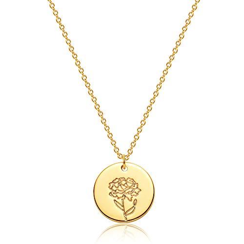 OSIANA Geburtsmonat Blumen Halskette für Frauen 18 Karat vergoldet zierliche Scheibe Scheibe Nelke Münze Anhänger minimalistische Blumen Halskette Klassische Halskette...