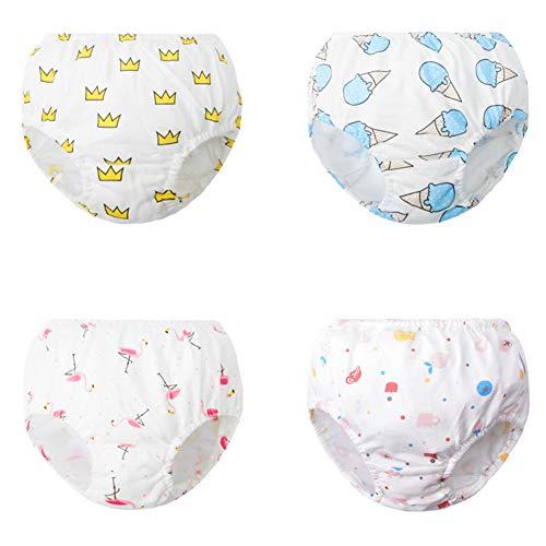 Morbuy Baby Lernwindel Trainerhosen 4 Stück Unterwäsche Windeln Windelhose zum Toilettentraining für Baby Kleinkind Töpfchen Klingelhose Trainer Windelhosen (D,150# / 5-7 Jahre)