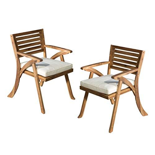 Christopher Knight Home Hermosa Outdoor Acacia Wood Arm Chairs, 2-Pcs Set, Teak Finish / Cream