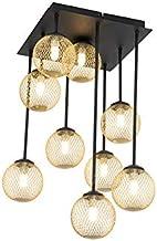 QAZQA Plafondlamp, rustiek, staal, goud/messing/zwart, rond, max. 9 x 28 cm