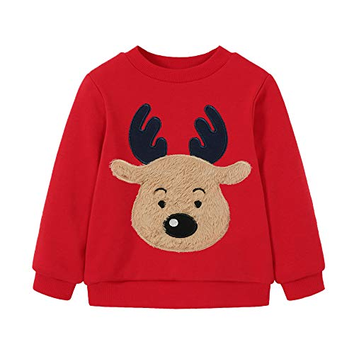 EULLA Jungen Weihnachtspullover Rentier Sweatshirt Geschenk Kinder Langarm Dinosaurier T-Shirt Tops Rundhals Pullover Hoodies Casual Outfit Kleidung Alter 1-7 Jahre Gr. 86-92, 1#Hirschrot
