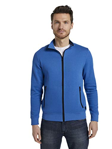 TOM TAILOR Herren Strick & Sweats Sweat mit Stehkragen sweatjacket with zip-pock 10668 M-XL 121 Stehkragen, Victory Blue, XXL