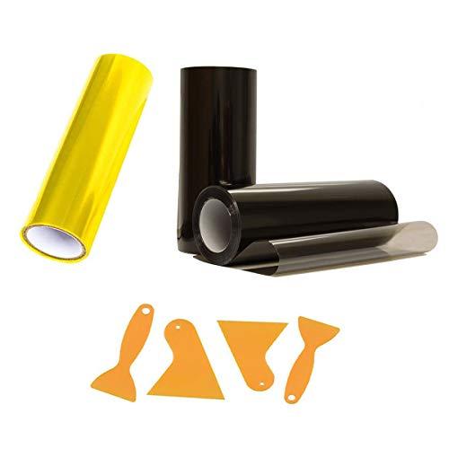 Binjor 6Pcs Scheinwerfer Folie Auto Tönungsfolie 30 * 120cm Aufkleber selbstklebend gelb hellschwarz Vinyl Film Auto-Licht-Aufkleber Dekor Fachmann Folienschaber Wird in verschiedenen Autolichtern