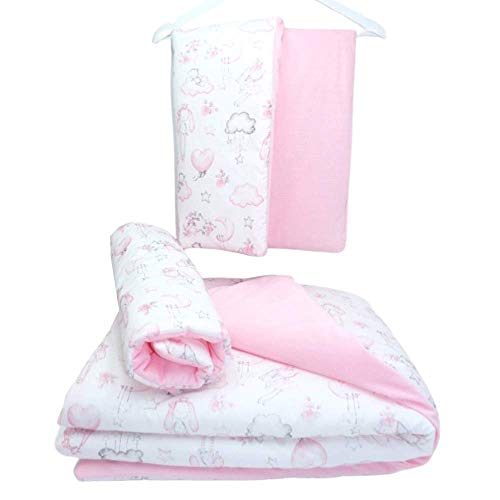Callyna - Juego de 3 mantas de terciopelo suave para cuna, cochecito, cochecito de bebé, 4 estaciones, 100% Unión Europea, conejo rosa