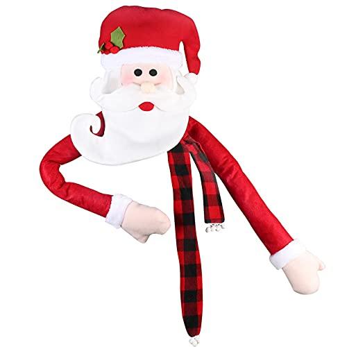 Hileyu Puntale per Albero di Natale, a Forma di Babbo Natale, con Cappello colorato, Scialle e Braccia posizionabili, per Natale, Vacanze, Feste Invernali, Decorazione per la casa