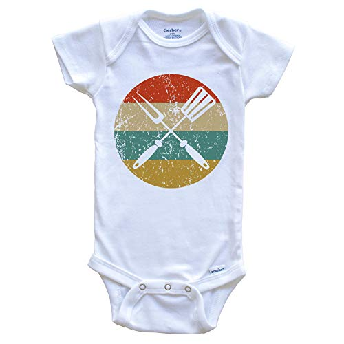 Spatula and Fork Vintage Retro Style BBQ Cookout Circle Icon Baby Onesie, 0-3 Months White