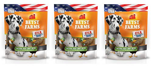 Betsy Farms 3 Pack of Grain-Free Natural Duck Jerky Dog Treats, 12 Ounces Each, Made in The USA