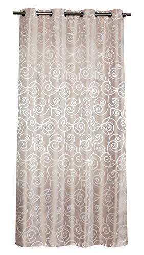 NOVUM fix Gardine Vorhang, Schal mit Ösen * hochwertiges Jacquard-Gewebe 140x245 cm (BxH) * Champagner