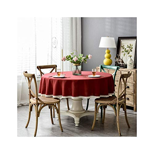 Solid Color Waterproof Linen Round Tablecloth with Tassel Lace Wedding Hotel Decoration Cloth Outdoor,Burgundy with Lace,Round 240Cm
