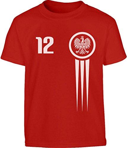 Kids Polska Polen Fußball Fan Trikot EM Kleinkind Kinder Jungen T-Shirt 128 Rot