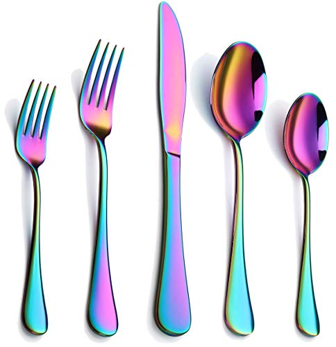 Colorful Silverware Set, 20-Piece Stainless Steel Rainbow Flatware Set, Iridescent Cutlery Utensils Set Service for 4, Mirror Polished, Dishwasher Safe(Muticolorful)