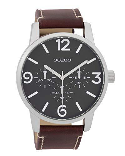 Oozoo Herrenuhr mit Lederband 45 MM Schwarz/Rotbraun C9652