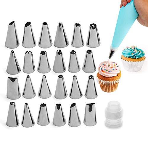 Boquillas de Pastelería de Plástico 26 Piezas Boquillas para Pastelería En Acero...