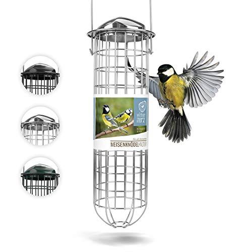 wildtier herz | Meisenknödelhalter 31cm ausEdelstahl – 5 Jahre Garantie – Futterspender, Futterstation für Vögel zum Aufhängen, zur ganzjährigen Wildvögel Fütterung, Silber