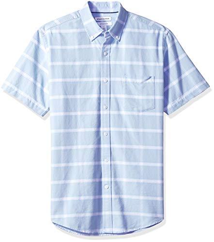 Amazon Essentials Men's Regular-Fit Short-Sleeve Pocket Oxford Shirt, Blue Windowpane, XX-Large Cotton Business Men Casual Shirt