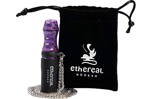 Ethereal Hookah Boquilla Premium reutilizable para Cachimba | Exclusivo accesorio para tu Shisha | Fabricada en Resina y Silicona | Incluye colgante de acero y bolsa de terciopelo (Morado)