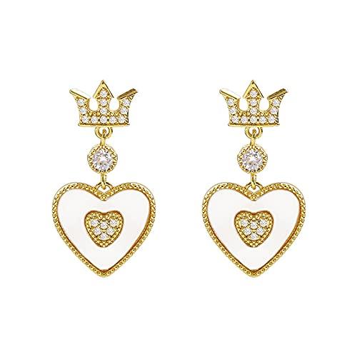 Boucles D'oreilles Crown Love Avec Diamants Étincelants Micro-sertis Et Clous D'aiguille En Argent