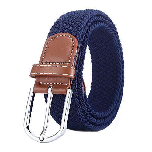 BOZEVON Cintura in tessuto elastico - Cintura in tessuto elasticizzato intrecciato elasticizzato multicolore per Uomo Donna Blu