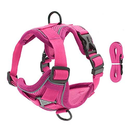 Arnés para perros Pet Reflective Nylon Dog Harness No Pull Adjustable Medium Large Naughty Dog Vest Safety Vehicular Lead Walking Running Arnés para gatos (Color : Pink, Size : Large)