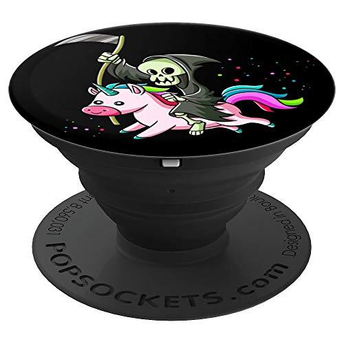 Blackcraft Cute Kawaii Sensenmann reitet ein Einhorn - PopSockets Ausziehbarer Sockel und Griff für Smartphones und Tablets