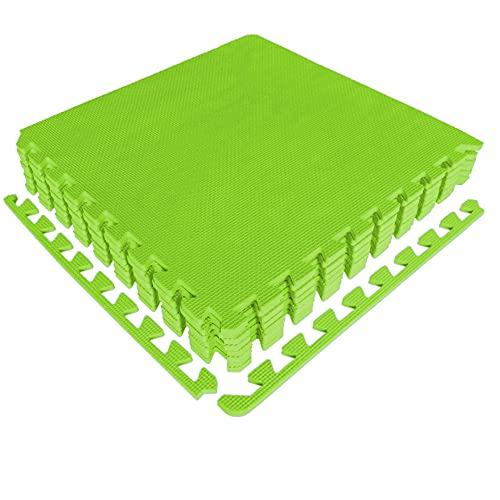 diMio Sport-Schutzmatten - Puzzlematten inkl. Randstücke in Blau, 8 Puzzleteile à 50x50cm, Trainingsmatte/Schutzmatte/Unterlegmatte/Fitnessmatte/Bodenschutz Matte - wasserfest (Limette, 1er Set)