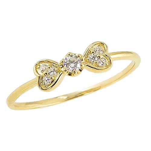 [ジュエリーアイ] リボンリング ハート りぼん ダイヤモンドリング イエローゴールドK10 10金 ピンキーリング 指輪 セブンストーン 4.5号