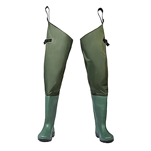 FISHINGSIR Hip Boots Hip Waders for Men with Boots Waterproof Lightweight Bootfoot Cleated 2-Ply Nylon/PVC