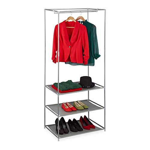 Relaxdays Kleiderständer mit Ablagen, offener Faltschrank mit Kleiderstange, Metall & Stoff, 179,5 x 72 x 48 cm, silber