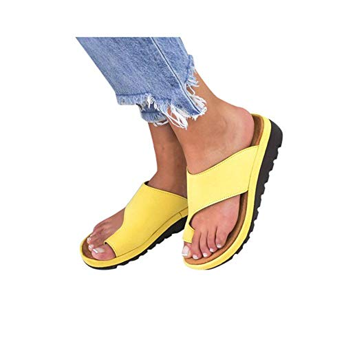 HROIJSL damen hausschuhe Frauen Open Toe Flache Pantoffeln Anti Rutsch Dusche Badeschuhe Hallux Valgus Unterstützung Plattform Sandale Schuhe Für Bunion Correct Modern Sommer Freizeit