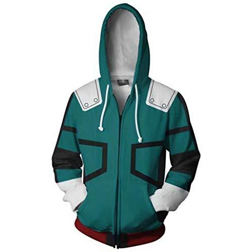 NJunicorn Uncle Boku no Hero Zip Up Hoodie Sweatshirt My Hero Academia Cosplay All Might Character Kostüm Unisex Jacke Kapuzenpullover (Art D, XL)