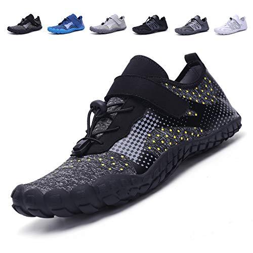 adituob Herren Damen Barefoot Wasserschuhe Schnelltrocknend Sport Aqua Schuhe für Schwimmbad Laufen Wandern A-Schwarz EU46