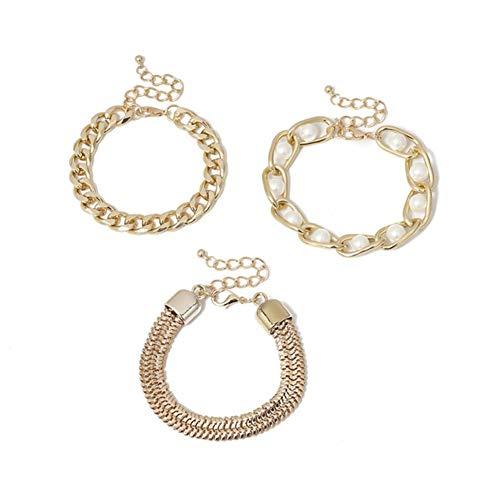 Bracelet Thick Bracelet Bangle Chunky Heavy Metal Imitation Pearl Bracelet Wrist Chain Jewelry (Color : Bracelet)
