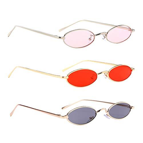 SM SunniMix Conjunto de 3 Marcos Ovalados Retro Ojos de Gato Gafas de Sol Mujeres Hombres UV400 Gafas de Sol Espejadas Gafas de Fiesta