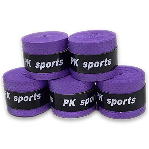 グリップテープ 5個セット (5色セット・黒・赤・青・紫・黄・など各色セットあり) ドライ多孔 オーバーグリップ テニス バドミントン 他 (バイオレット)