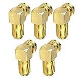 Conector de ángulo adaptador de cable F para cable de antena coaxial chapado en oro Conversión de oro 5PCS Componente Accesorio