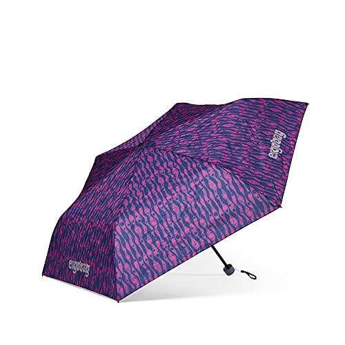 ergobag Regenschirm - Schultaschenschirm für Kinder, extra leicht mit Tasche, Ø90cm - Bärmuda Viereck - Lila