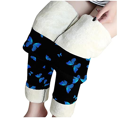 Thermo-Leggings Damen Winter-Gefüttert-Sport High-Waist-Thermoleggins: Winter Leggings Gefüttert Thermo Strumpfhosen Warm Muster Sport Leggings Haushose Pyjamahose